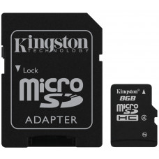 Карта памяти Kingston microSDHC 8GB Class 4 + SD адаптер